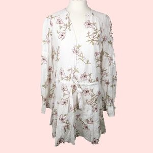 PAIGE Yardley Floral Minidress in White / Mauve